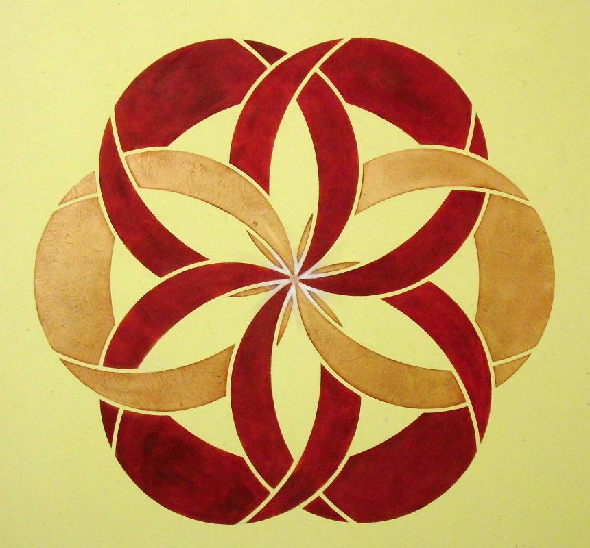 Schablonen-Kunst mit der Raumbalance Vital-Symbol®-Seelenblüte